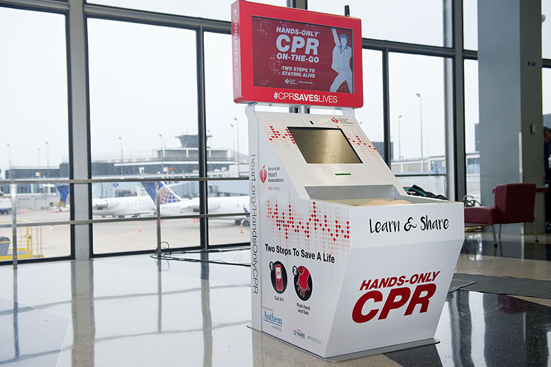 The American Heart Association And The Anthem Foundation Debut Hands-Only CPR Kiosks At O'Hare And Four Other Airports