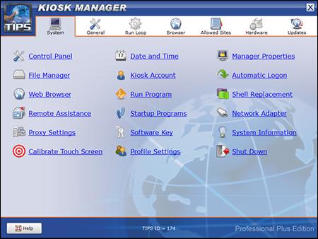 TIPS Kiosk Management Software - TIPS Administration - System