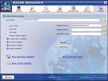 TIPS Kiosk Management Software - TIPS Administration - Updates