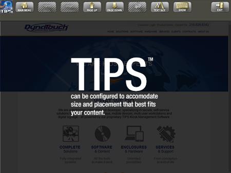 TIPS Kiosk Management Software - TIPS Toolbar Configured on Top