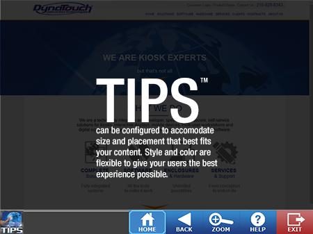 TIPS Kiosk Management Software - TIPS Toolbar Configured on Bottom
