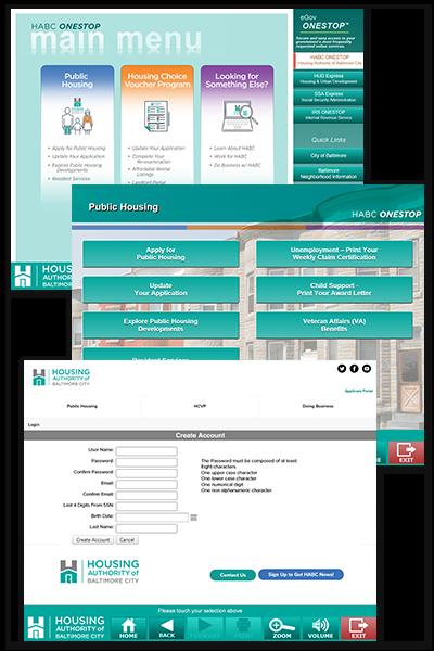 Housing Authority of Baltimore City (HABC) Screenshots: Main Menu, Submenu, and Create Account screens