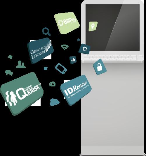 Kiosk Apps: QueueKiosk™, BillPay Kiosk™, IDRenew™ & Gravesite Locator™