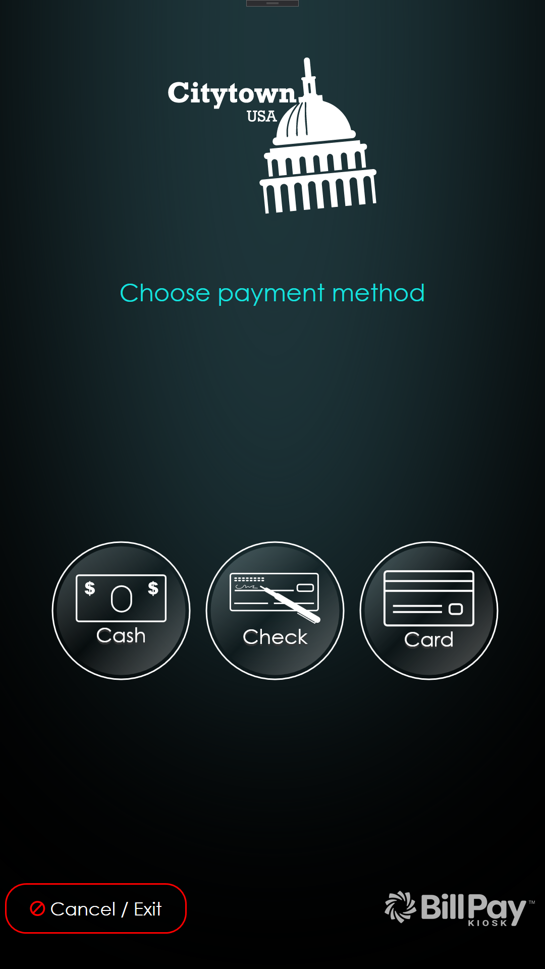 BillPay Kiosk™: Allows Cash, Check, and Credit/Debit Card Payments