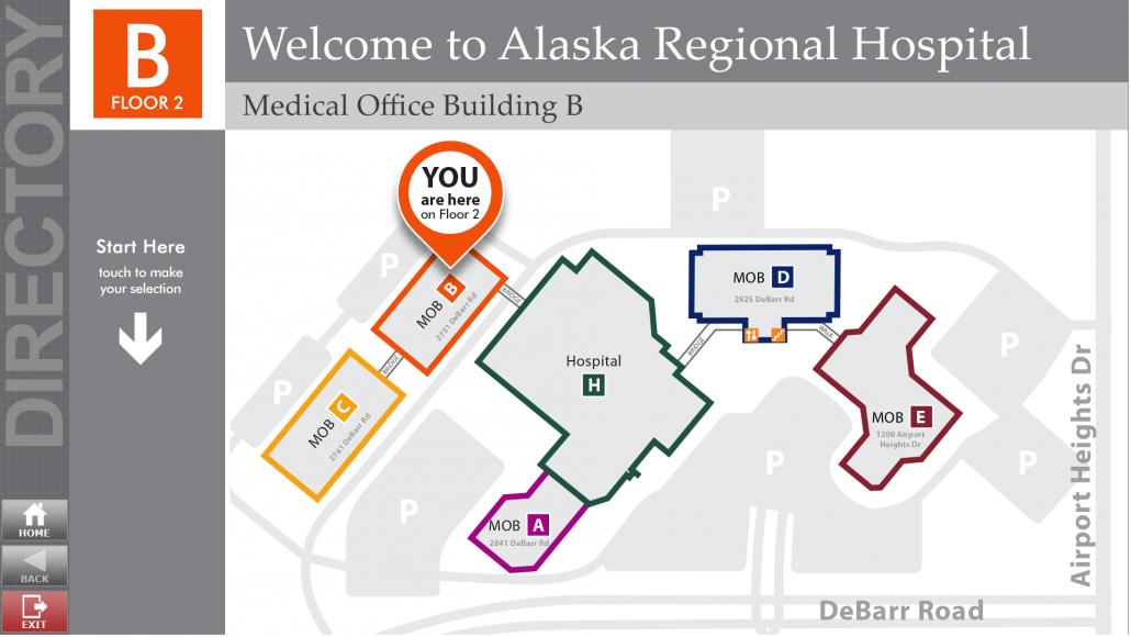 Wayfinding / Directory Kiosk Map: Alaska Regional Hospital