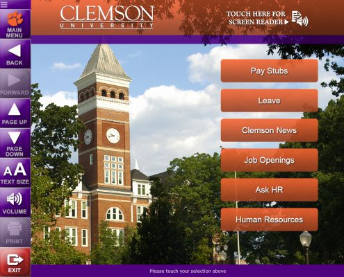 Clemson University Employee Self-Service Main Menu