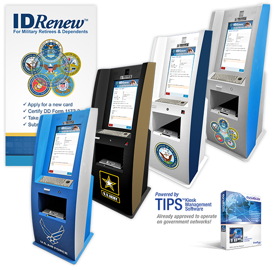 A display of four different kiosk designs for DoD branches: Air Force, Army, Navy, and DoD. Powered by TIPS Kiosk Management Software