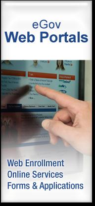 eGov Web Portals: Web Enrollment, Online Services, Forms & Applications