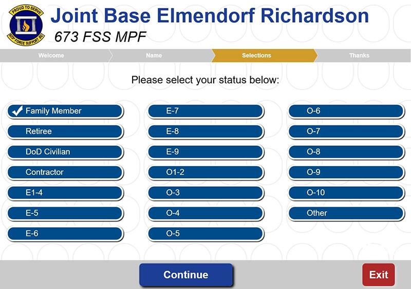 Joint Base Elmendorf Richardson Queue Select Your Status Screen