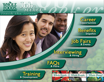 DynaTouch Jobseeker Software Main Menu for Wholefoods
