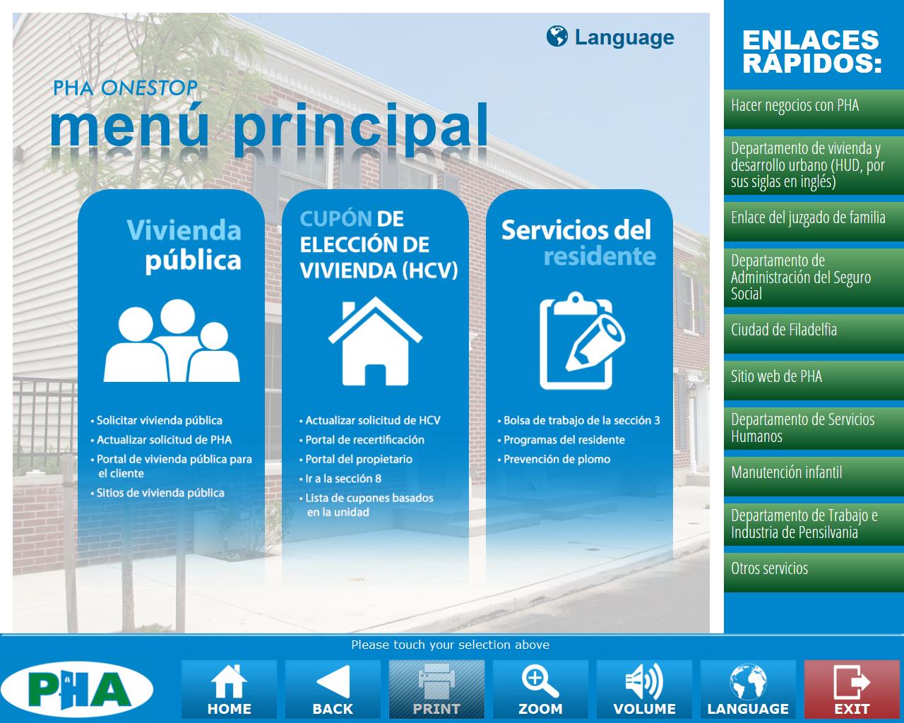 PHA OneStop Main Menu with Multiple Language Options: Philadelphia Housing Authority