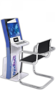 Sit-down Kiosk Model C with chair and keyboard